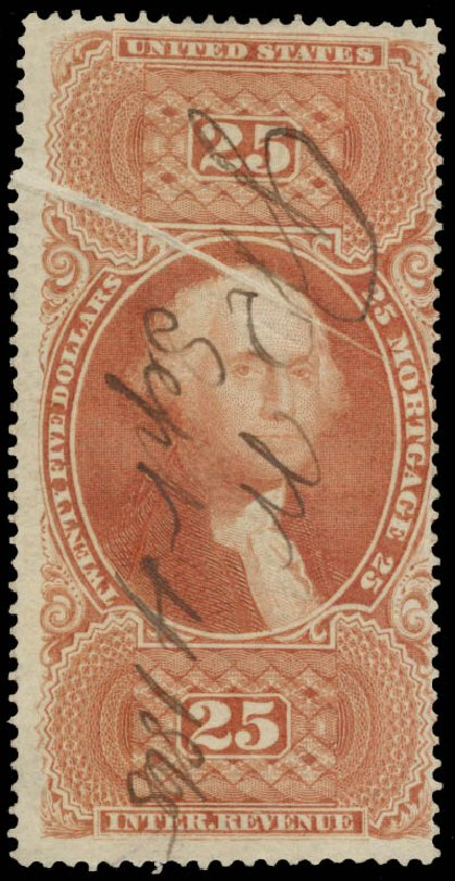 Value of US Stamps Scott Catalog # R100: US$25.00 1863 Revenue Mortgage. Daniel Kelleher Auctions, May 2015, Sale 665, Lot 152