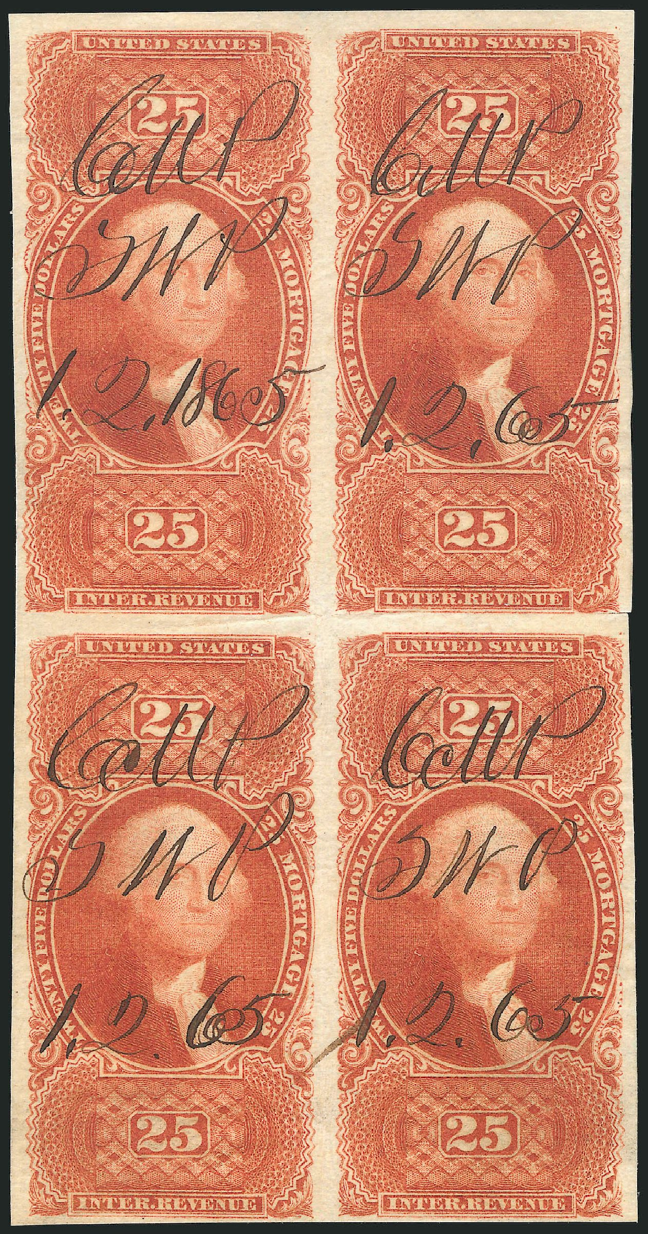 Price of US Stamps Scott Catalog # R100: US$25.00 1863 Revenue Mortgage. Robert Siegel Auction Galleries, Dec 2014, Sale 1089, Lot 382
