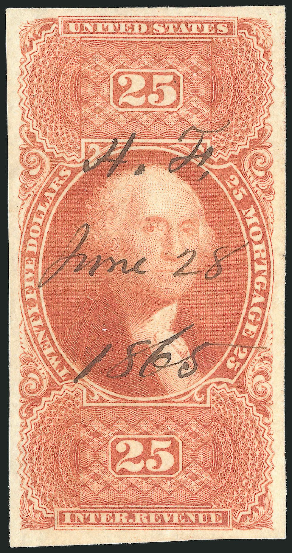 US Stamp Prices Scott Catalogue #R100: US$25.00 1863 Revenue Mortgage. Robert Siegel Auction Galleries, Mar 2014, Sale 1067, Lot 543