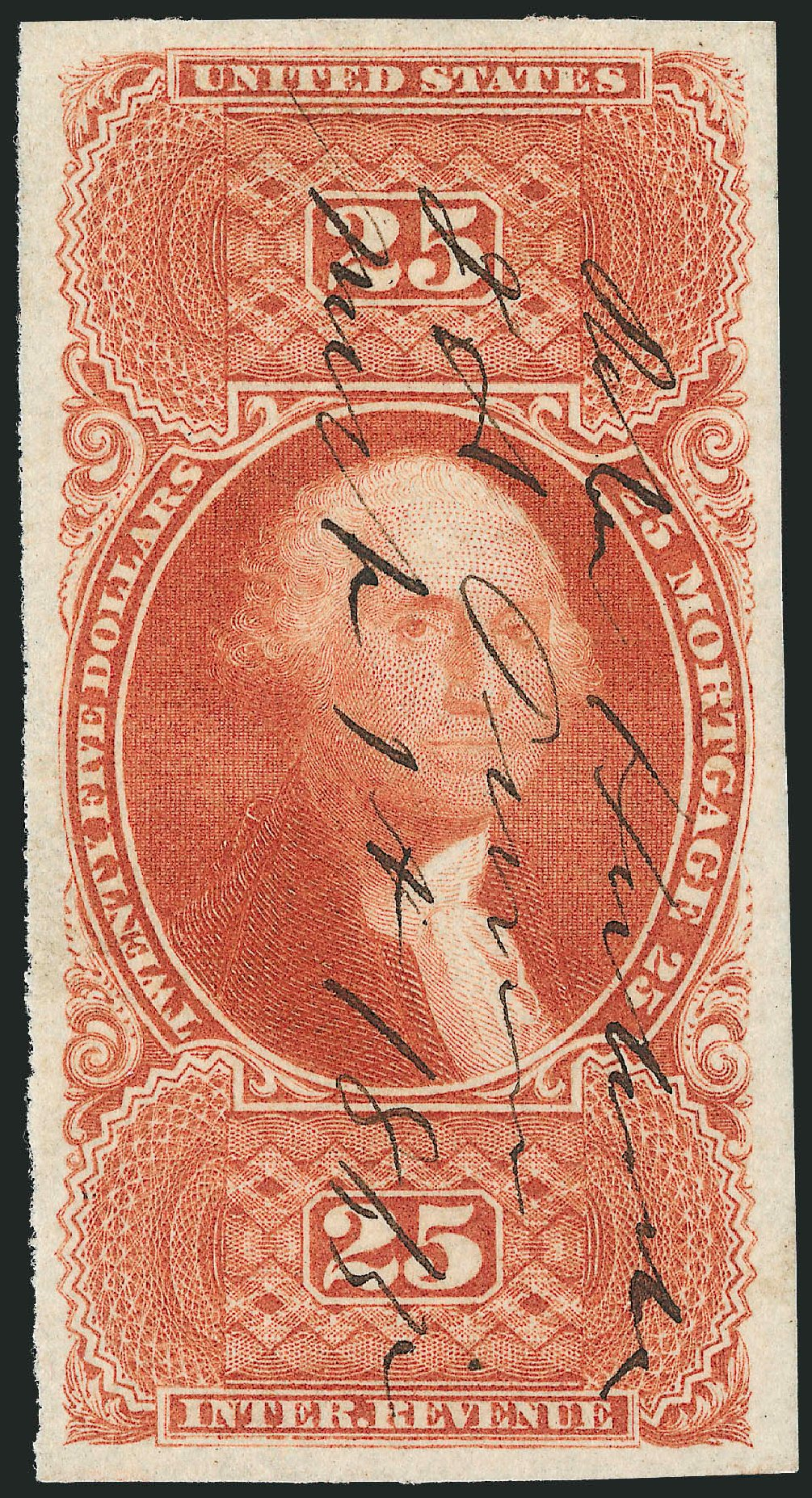 Values of US Stamps Scott Cat. #R100: 1863 US$25.00 Revenue Mortgage. Robert Siegel Auction Galleries, Oct 2010, Sale 997, Lot 6583