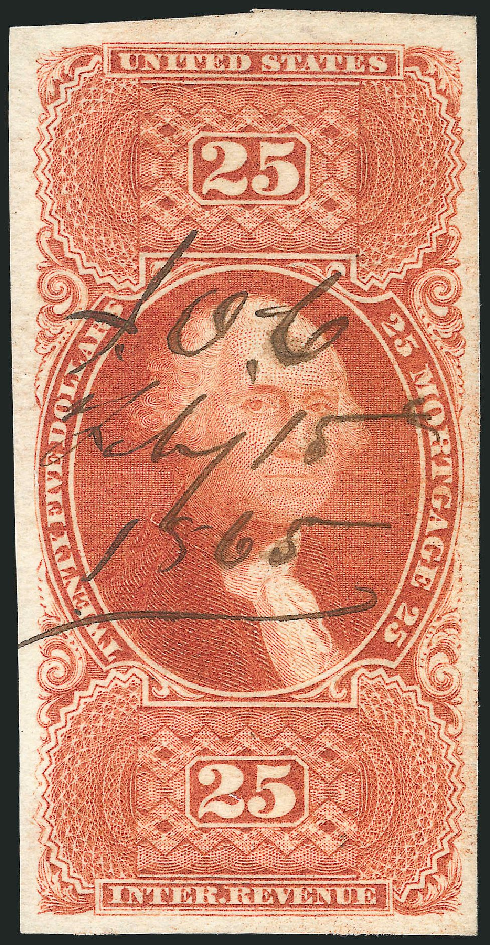 Cost of US Stamps Scott Catalog # R100: US$25.00 1863 Revenue Mortgage. Robert Siegel Auction Galleries, Nov 2011, Sale 1015, Lot 36