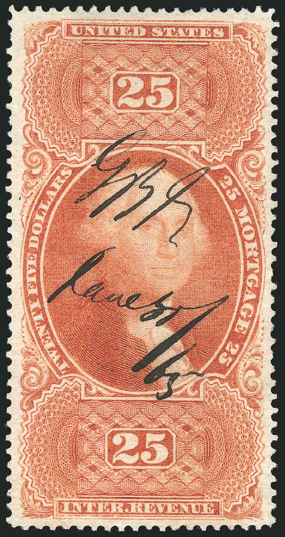 Prices of US Stamps Scott #R100: US$25.00 1863 Revenue Mortgage. Robert Siegel Auction Galleries, Nov 2011, Sale 1015, Lot 76