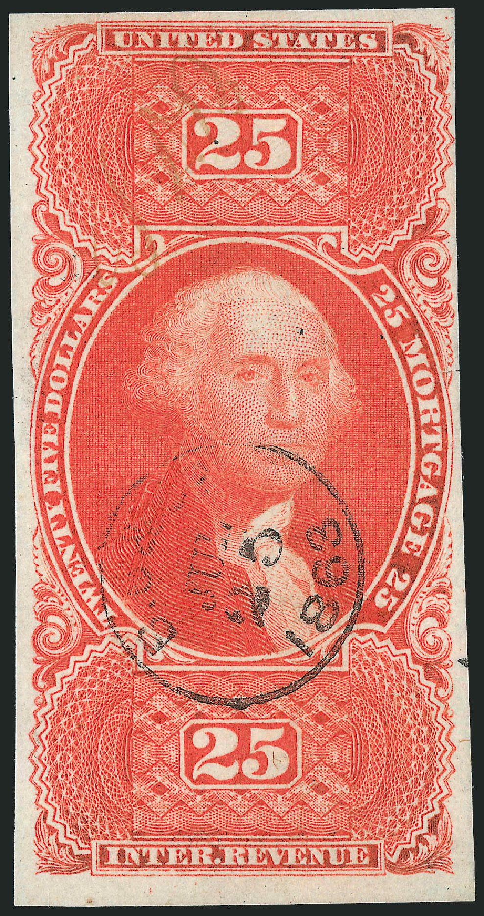 US Stamp Values Scott #R100: 1863 US$25.00 Revenue Mortgage. Robert Siegel Auction Galleries, Dec 2014, Sale 1089, Lot 276