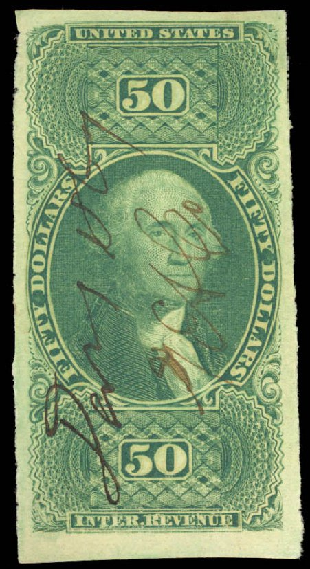 Values of US Stamp Scott Catalog R101: US$50.00 1863 Revenue Internal. Daniel Kelleher Auctions, Aug 2015, Sale 672, Lot 3079
