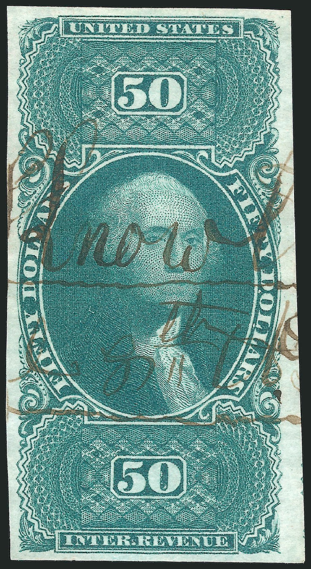 Value of US Stamp Scott Catalogue #R101: 1863 US$50.00 Revenue Internal. Robert Siegel Auction Galleries, Sep 2014, Sale 1078, Lot 679