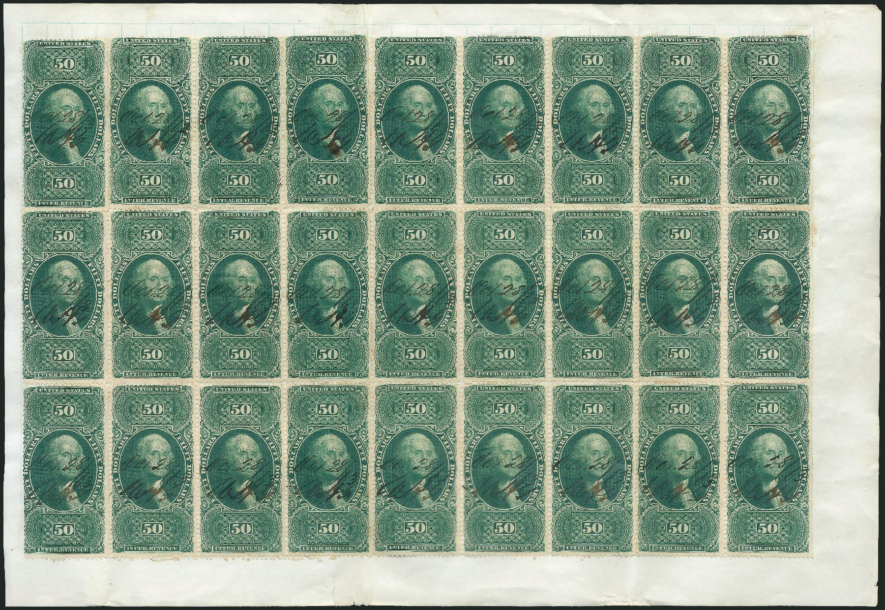 US Stamp Values Scott Catalog # R101: 1863 US$50.00 Revenue Internal. Robert Siegel Auction Galleries, Dec 2014, Sale 1089, Lot 450