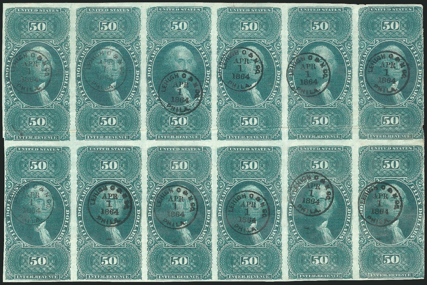Cost of US Stamp Scott Cat. #R101: 1863 US$50.00 Revenue Internal. Robert Siegel Auction Galleries, Jun 2015, Sale 1100, Lot 171