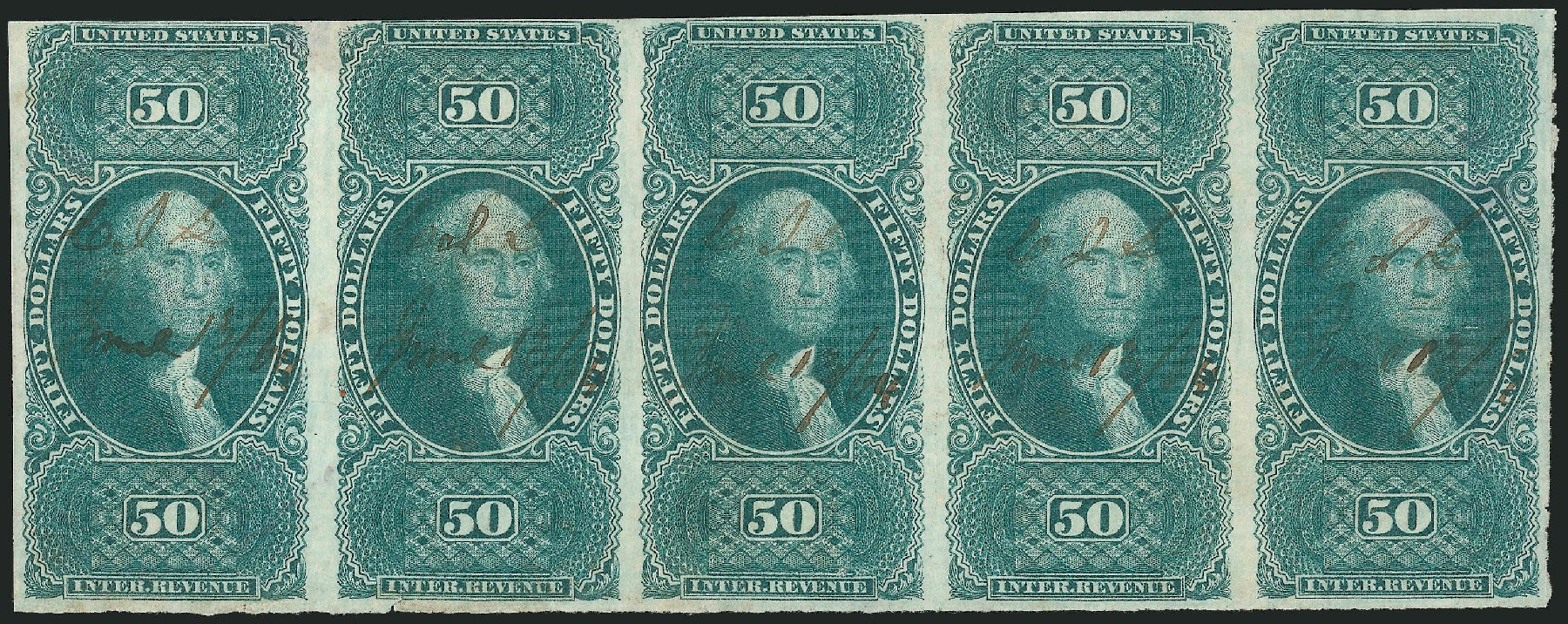 US Stamps Price Scott R101: US$50.00 1863 Revenue Internal. Robert Siegel Auction Galleries, Dec 2014, Sale 1089, Lot 384