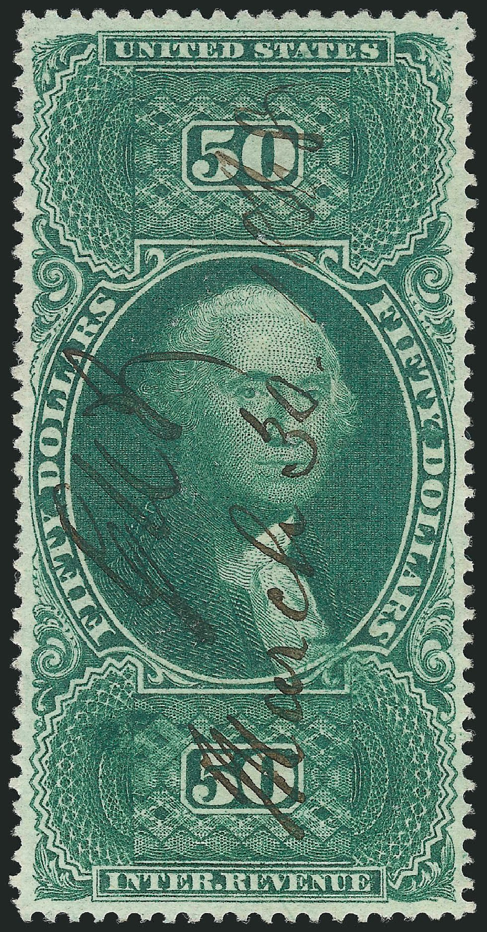 US Stamp Values Scott Cat. # R101 - 1863 US$50.00 Revenue Internal. Robert Siegel Auction Galleries, Mar 2014, Sale 1066, Lot 75