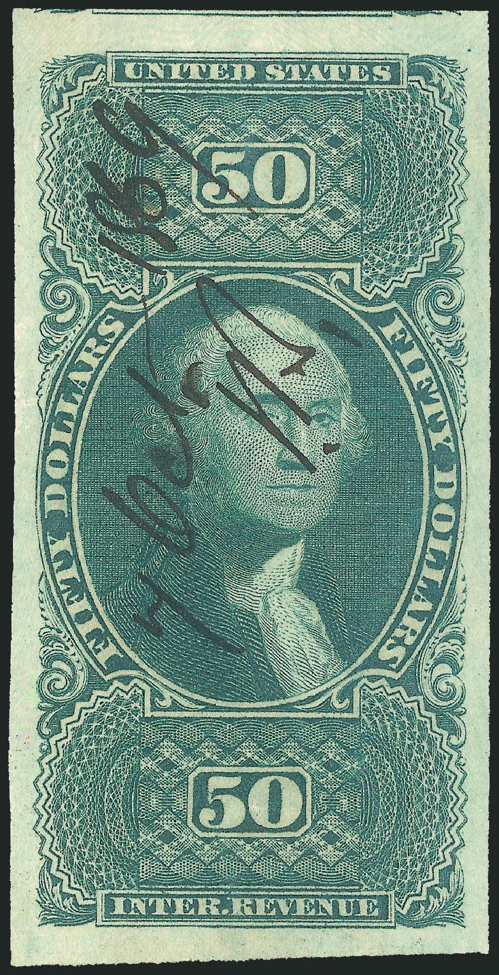 Price of US Stamps Scott Cat. #R101 - 1863 US$50.00 Revenue Internal. Robert Siegel Auction Galleries, Mar 2014, Sale 1067, Lot 545