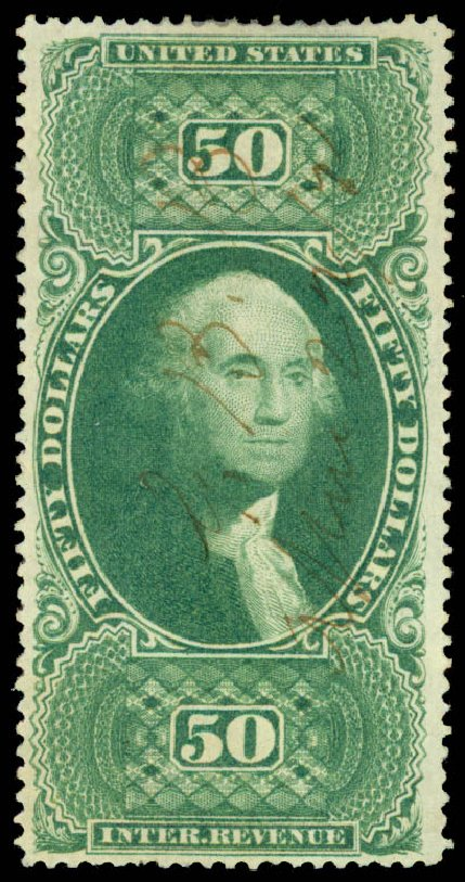 US Stamp Prices Scott #R101 - US$50.00 1863 Revenue Internal. Daniel Kelleher Auctions, Jun 2015, Sale 670, Lot 32
