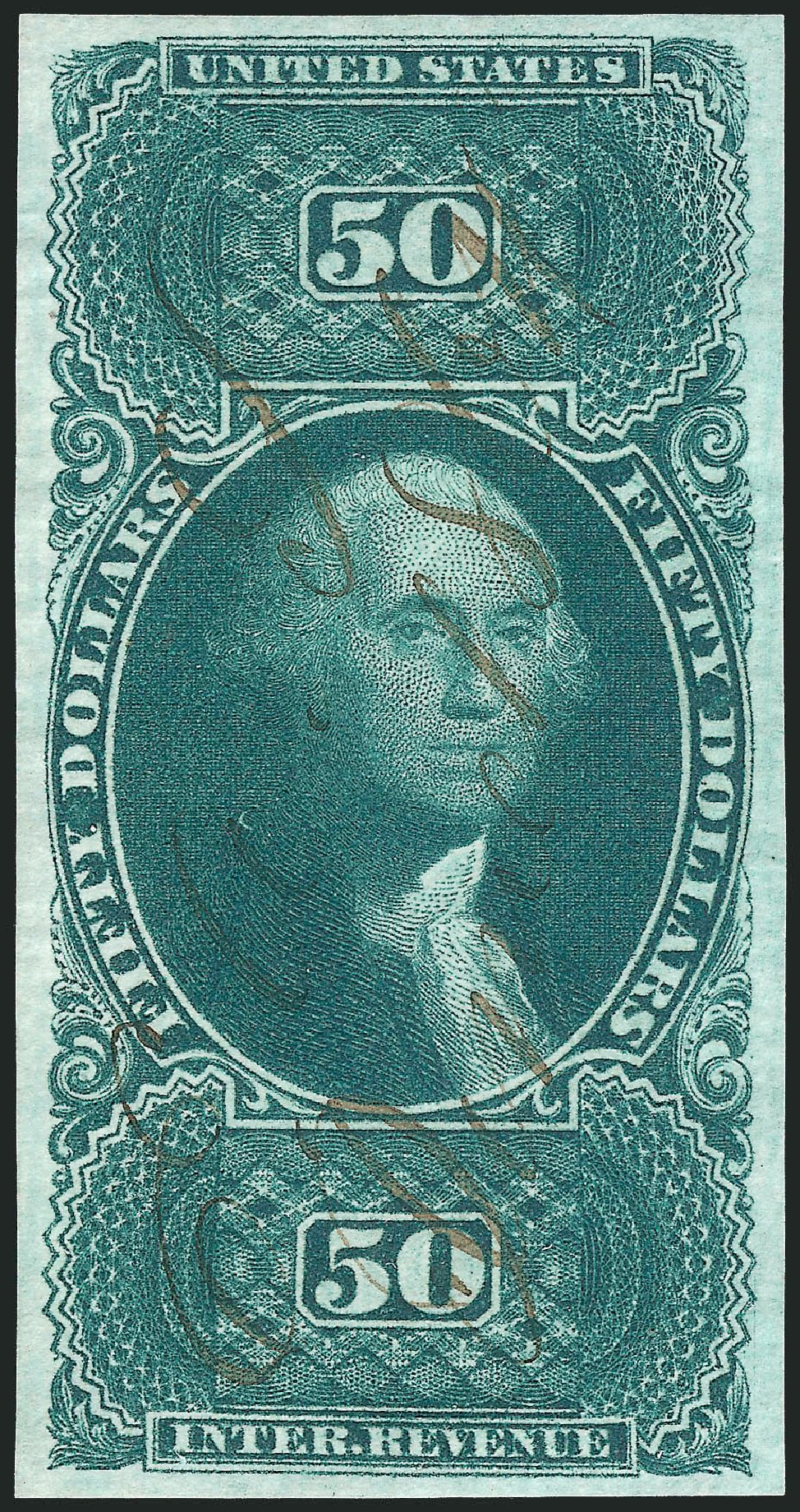US Stamp Price Scott Catalogue #R101: 1863 US$50.00 Revenue Internal. Robert Siegel Auction Galleries, Feb 2015, Sale 1092, Lot 1502