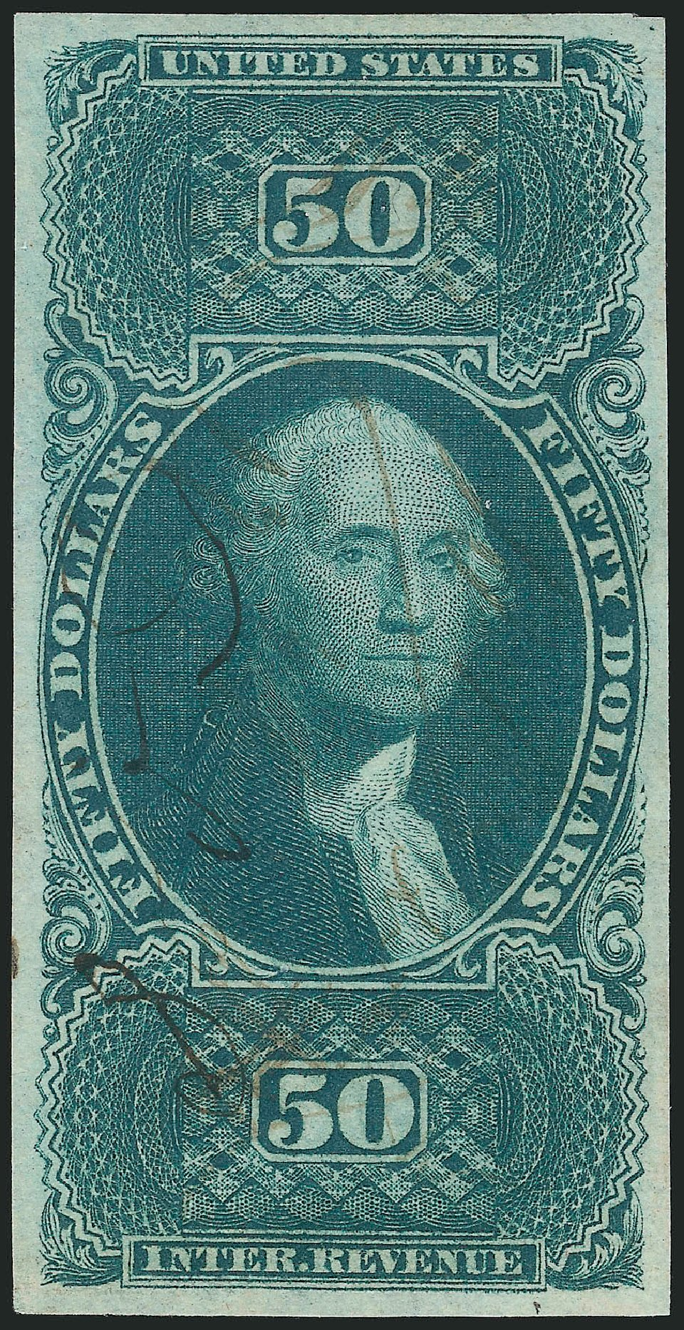 Cost of US Stamps Scott # R101: 1863 US$50.00 Revenue Internal. Robert Siegel Auction Galleries, Mar 2014, Sale 1066, Lot 43