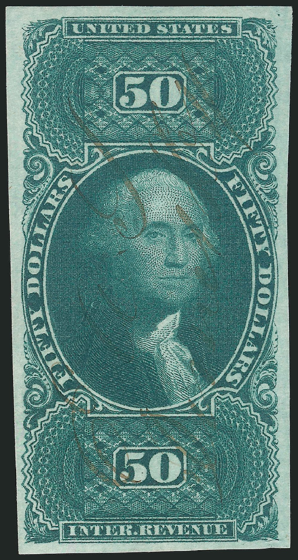 Values of US Stamp Scott #R101: 1863 US$50.00 Revenue Internal. Robert Siegel Auction Galleries, Feb 2015, Sale 1092, Lot 1503