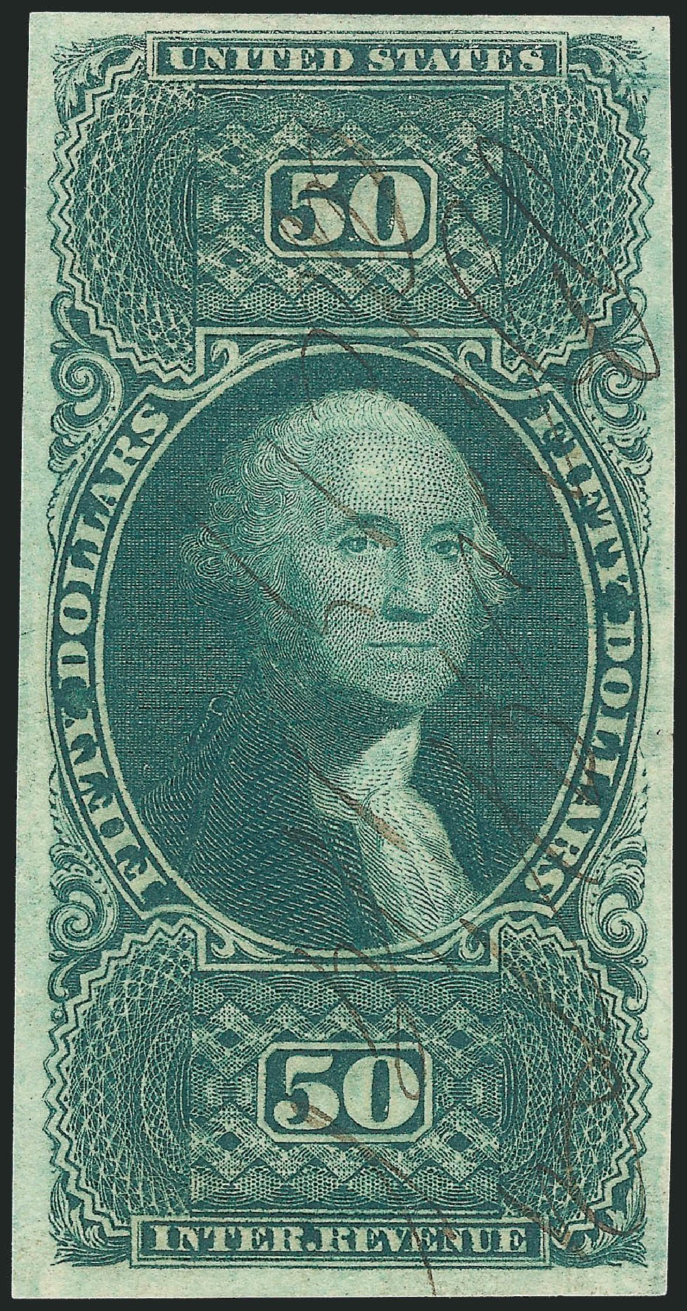 Value of US Stamp Scott Cat. #R101: US$50.00 1863 Revenue Internal. Robert Siegel Auction Galleries, Mar 2014, Sale 1067, Lot 546