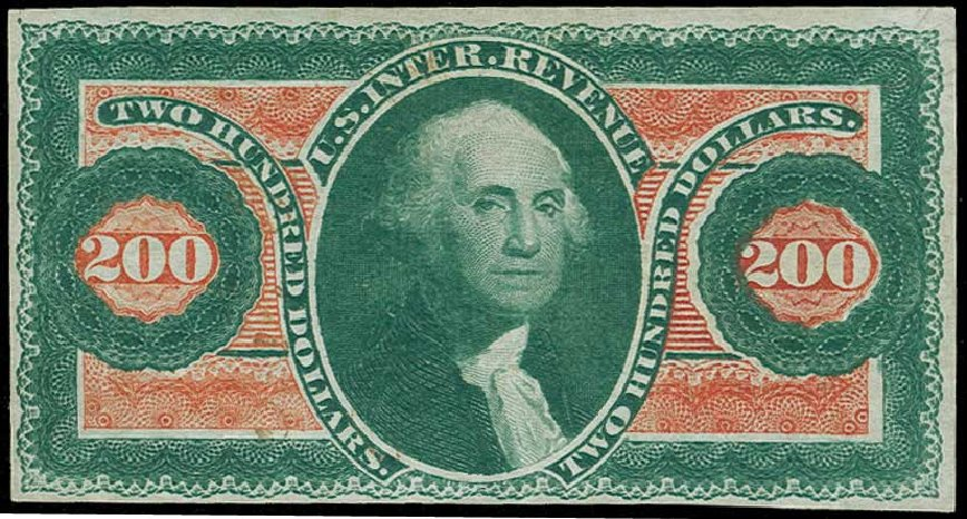 US Stamp Price Scott Cat. #R102 - US$200.00 1863 Revenue Internal. H.R. Harmer, Jun 2015, Sale 3007, Lot 3548