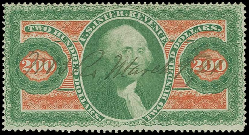US Stamps Value Scott Catalog R102: US$200.00 1863 Revenue Internal. H.R. Harmer, Jun 2015, Sale 3007, Lot 3549