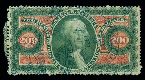 Values of US Stamps Scott Catalogue # R102 - US$200.00 1863 Revenue Internal. Matthew Bennett International, Jun 2007, Sale 319, Lot 1844