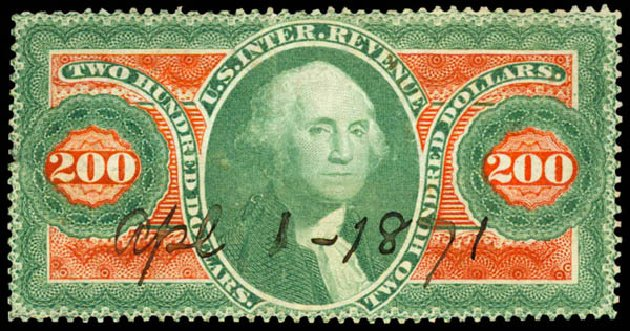 Prices of US Stamp Scott Cat. # R102: US$200.00 1863 Revenue Internal. Daniel Kelleher Auctions, Jun 2015, Sale 670, Lot 34