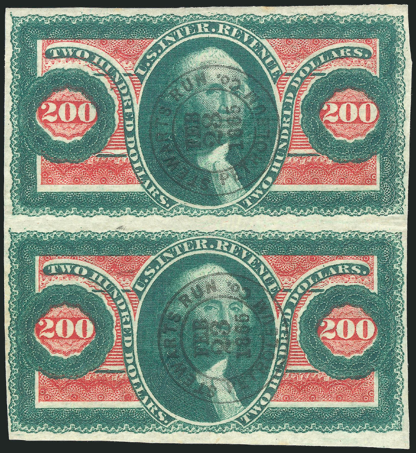 Value of US Stamps Scott # R102 - US$200.00 1863 Revenue Internal. Robert Siegel Auction Galleries, Feb 2015, Sale 1092, Lot 1504