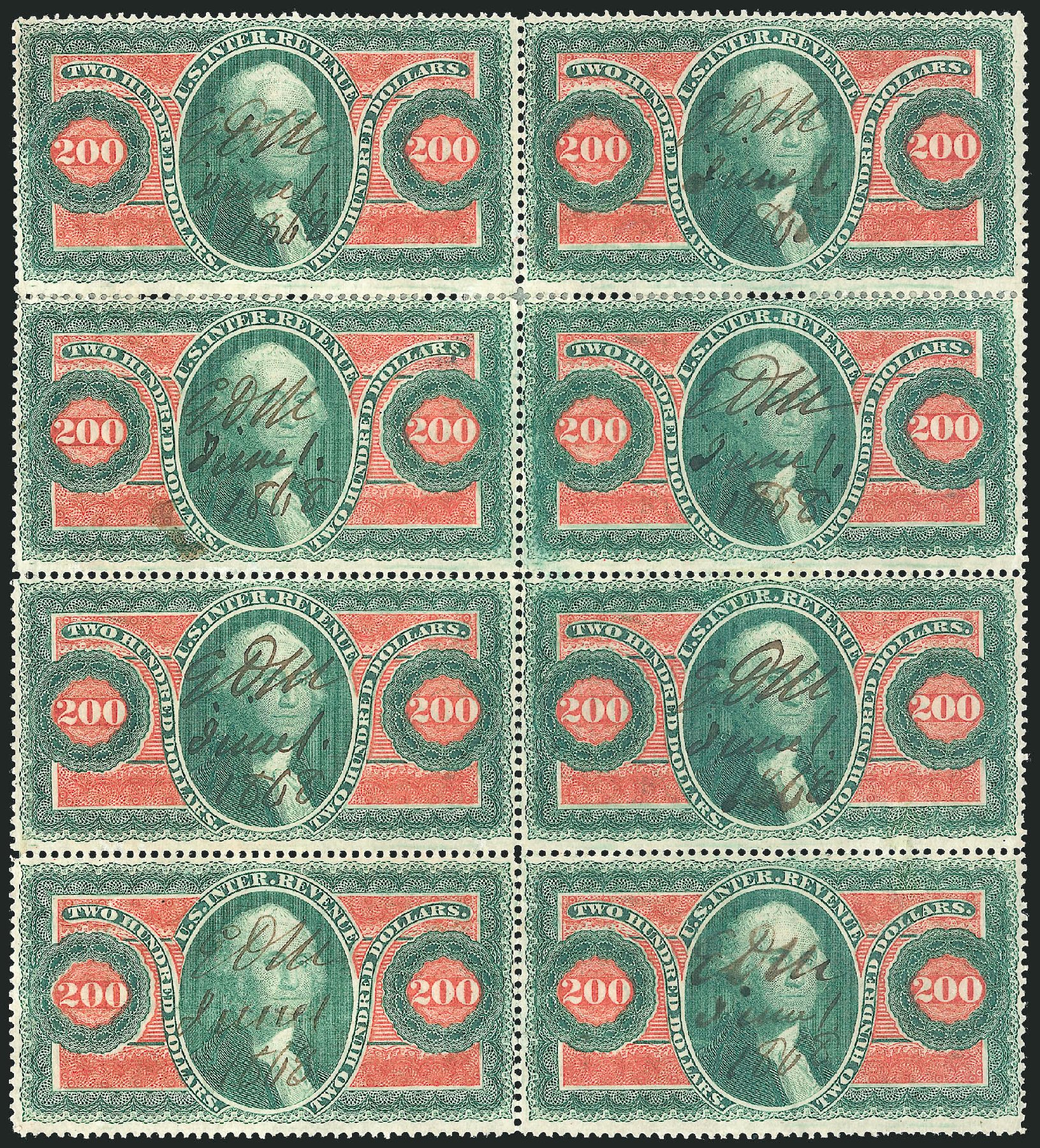 Values of US Stamps Scott R102 - US$200.00 1863 Revenue Internal. Robert Siegel Auction Galleries, Jun 2015, Sale 1100, Lot 174