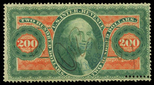 US Stamp Prices Scott Catalog #R102 - US$200.00 1863 Revenue Internal. Daniel Kelleher Auctions, May 2015, Sale 665, Lot 155