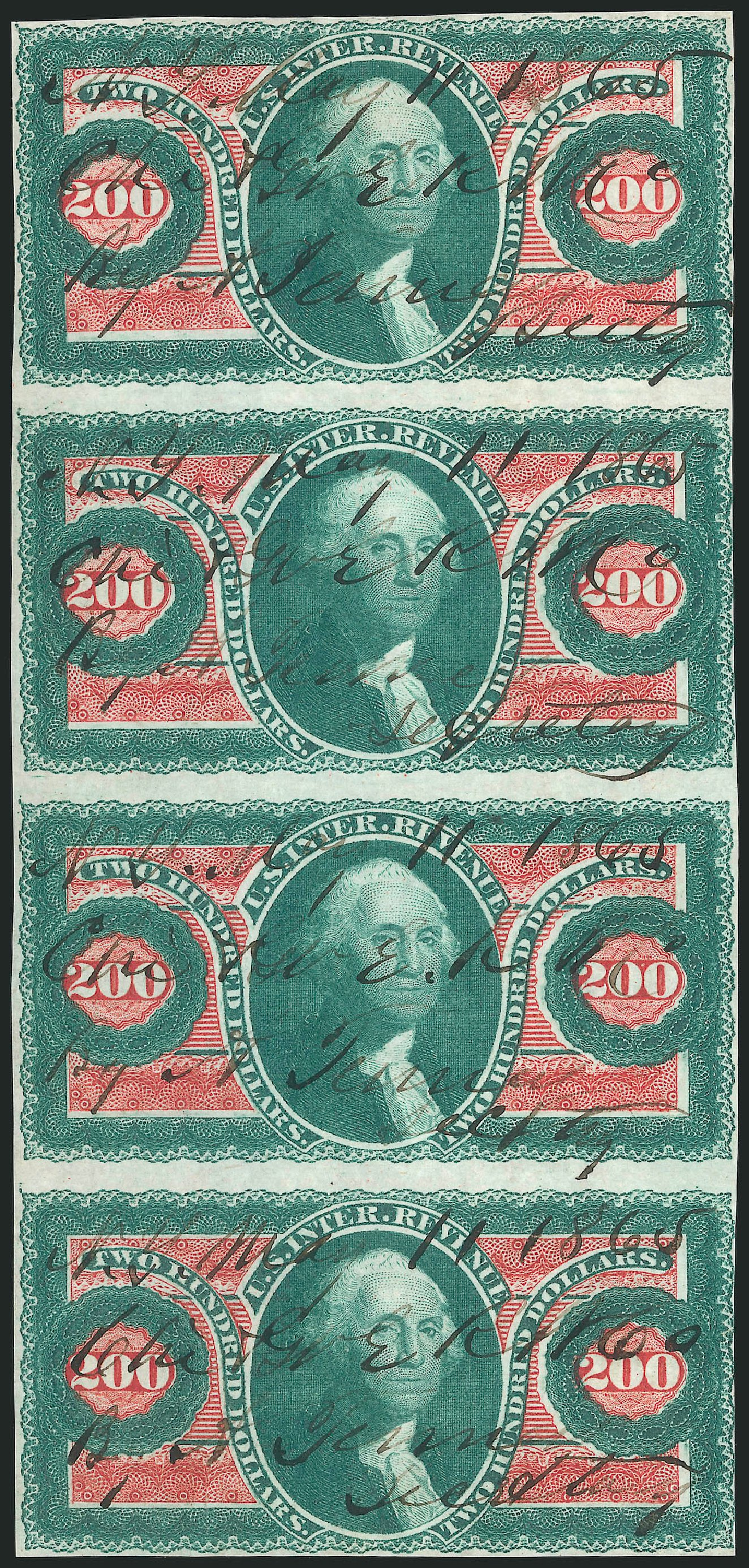 Values of US Stamps Scott Catalogue # R102 - US$200.00 1863 Revenue Internal. Robert Siegel Auction Galleries, Feb 2015, Sale 1092, Lot 1505