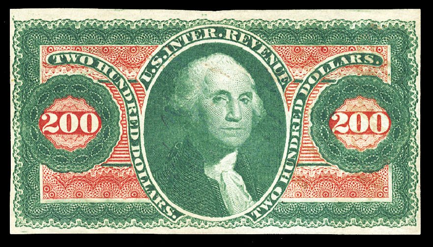 Price of US Stamp Scott Cat. R102 - 1863 US$200.00 Revenue Internal. Cherrystone Auctions, Jul 2015, Sale 201507, Lot 112