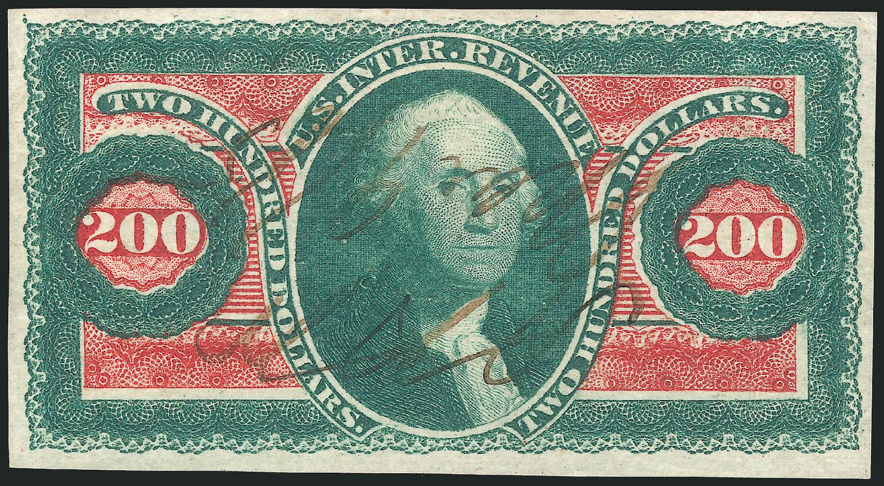 US Stamp Price Scott Catalog R102: 1863 US$200.00 Revenue Internal. Robert Siegel Auction Galleries, Jun 2015, Sale 1100, Lot 172