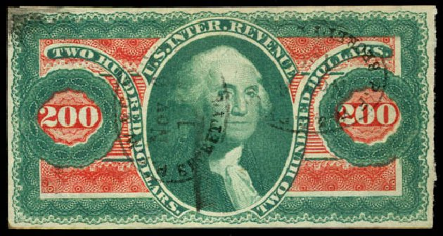 US Stamp Prices Scott R102 - 1863 US$200.00 Revenue Internal. Daniel Kelleher Auctions, Jun 2015, Sale 670, Lot 33