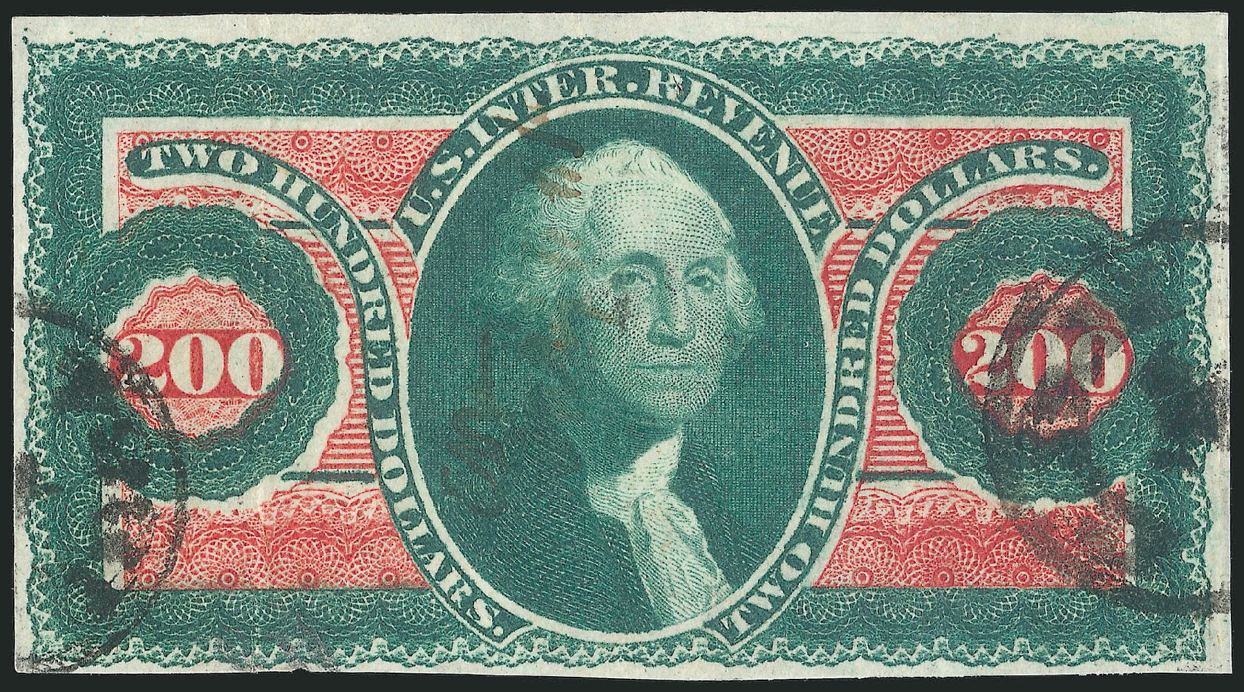 Value of US Stamp Scott #R102 - 1863 US$200.00 Revenue Internal. Robert Siegel Auction Galleries, Apr 2015, Sale 1096, Lot 973