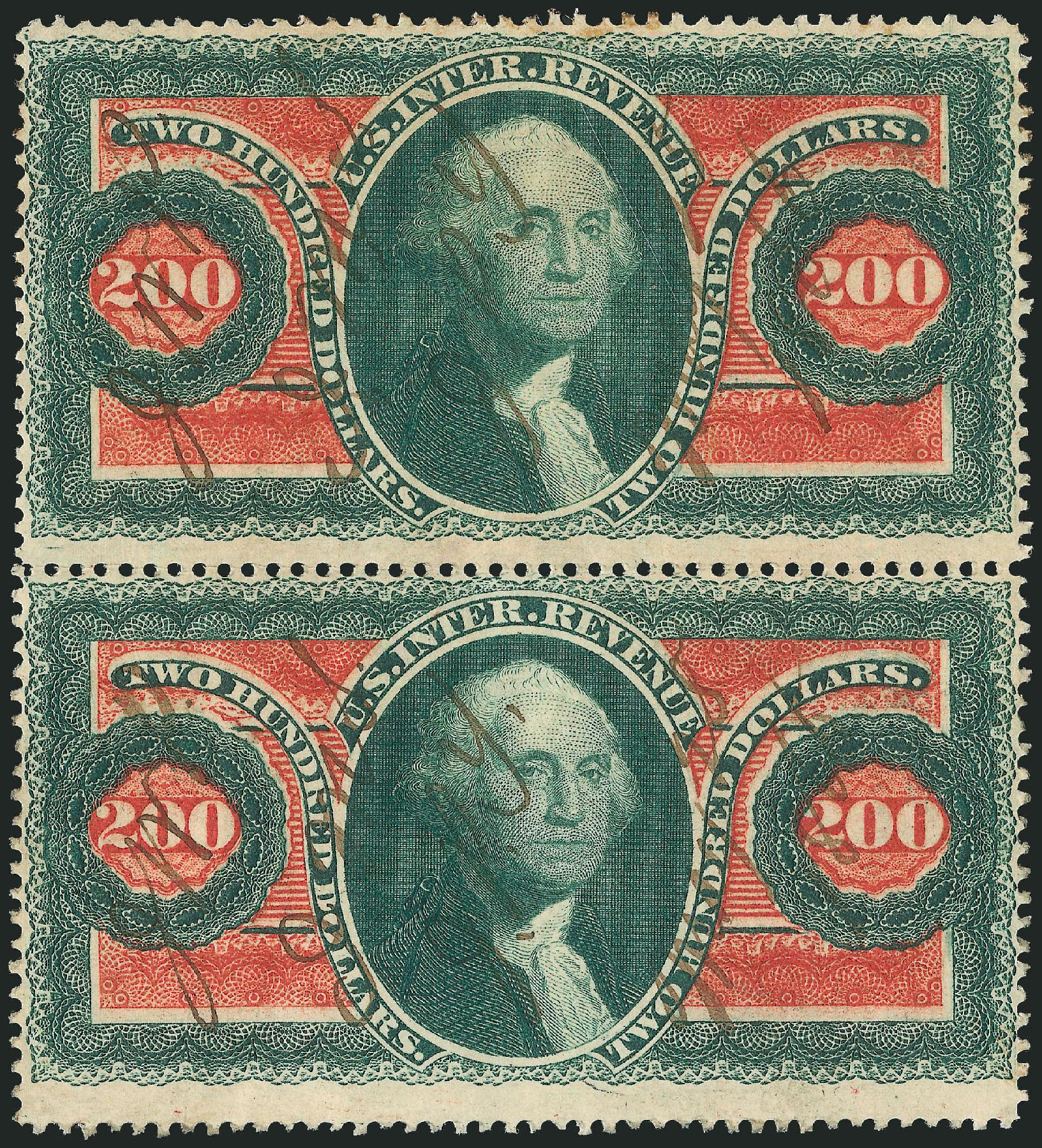Costs of US Stamp Scott Cat. #R102: 1863 US$200.00 Revenue Internal. Robert Siegel Auction Galleries, Jun 2015, Sale 1100, Lot 173