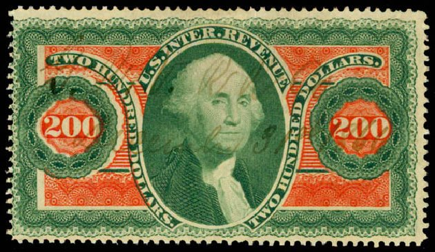 Price of US Stamps Scott Catalogue # R102: US$200.00 1863 Revenue Internal. Daniel Kelleher Auctions, May 2015, Sale 665, Lot 156