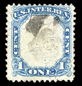 Value of US Stamps Scott Catalog # R103 - 1871 1c Revenue Documentary . Cherrystone Auctions, Apr 2012, Sale 201204, Lot 179