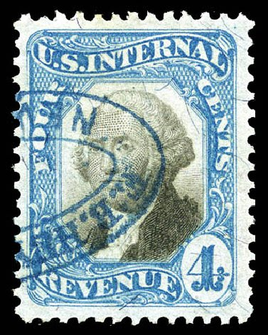 US Stamps Values Scott Cat. # R106 - 1871 4c Revenue Documentary . Matthew Bennett International, Mar 2012, Sale 344, Lot 4848