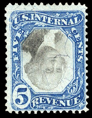 US Stamps Prices Scott Catalog #R107 - 1871 5c Revenue Documentary . Cherrystone Auctions, Apr 2010, Sale 201004, Lot 337