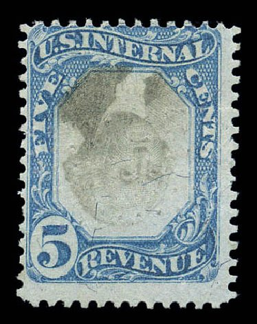 Prices of US Stamp Scott # R107 - 5c 1871 Revenue Documentary . Matthew Bennett International, Sep 2010, Sale 333, Lot 4058