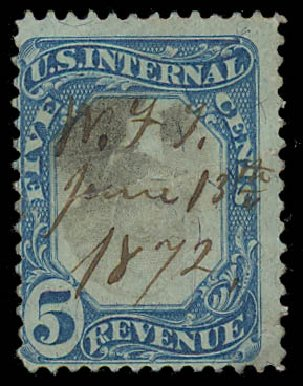 US Stamps Values Scott Cat. R107: 5c 1871 Revenue Documentary . Daniel Kelleher Auctions, Jul 2011, Sale 625, Lot 1308