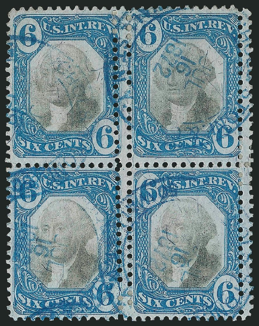 Values of US Stamp Scott Catalog #R108 - 6c 1871 Revenue Documentary . Robert Siegel Auction Galleries, Dec 2014, Sale 1089, Lot 494