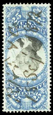 US Stamps Value Scott Cat. R112 - 1871 25c Revenue Documentary . Matthew Bennett International, Mar 2011, Sale 336, Lot 1469