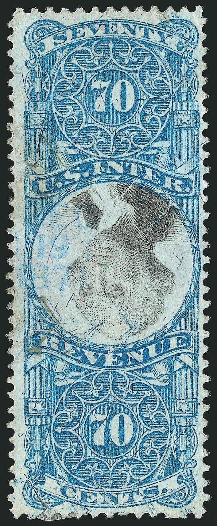 US Stamps Prices Scott Cat. # R117: 1871 70c Revenue Documentary . Robert Siegel Auction Galleries, Dec 2014, Sale 1089, Lot 487