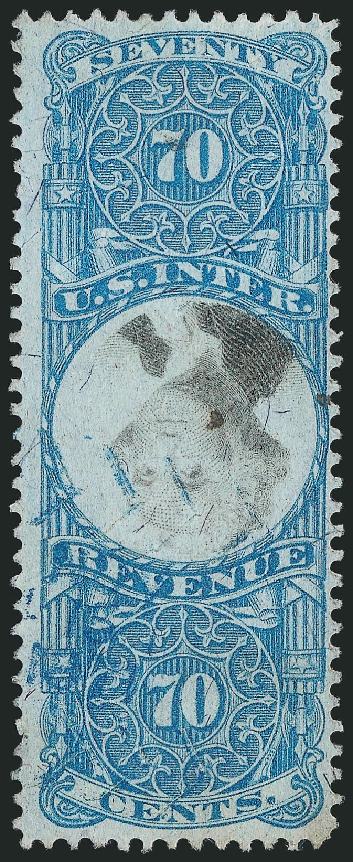 US Stamp Values Scott #R117: 1871 70c Revenue Documentary . Robert Siegel Auction Galleries, Mar 2014, Sale 1067, Lot 562