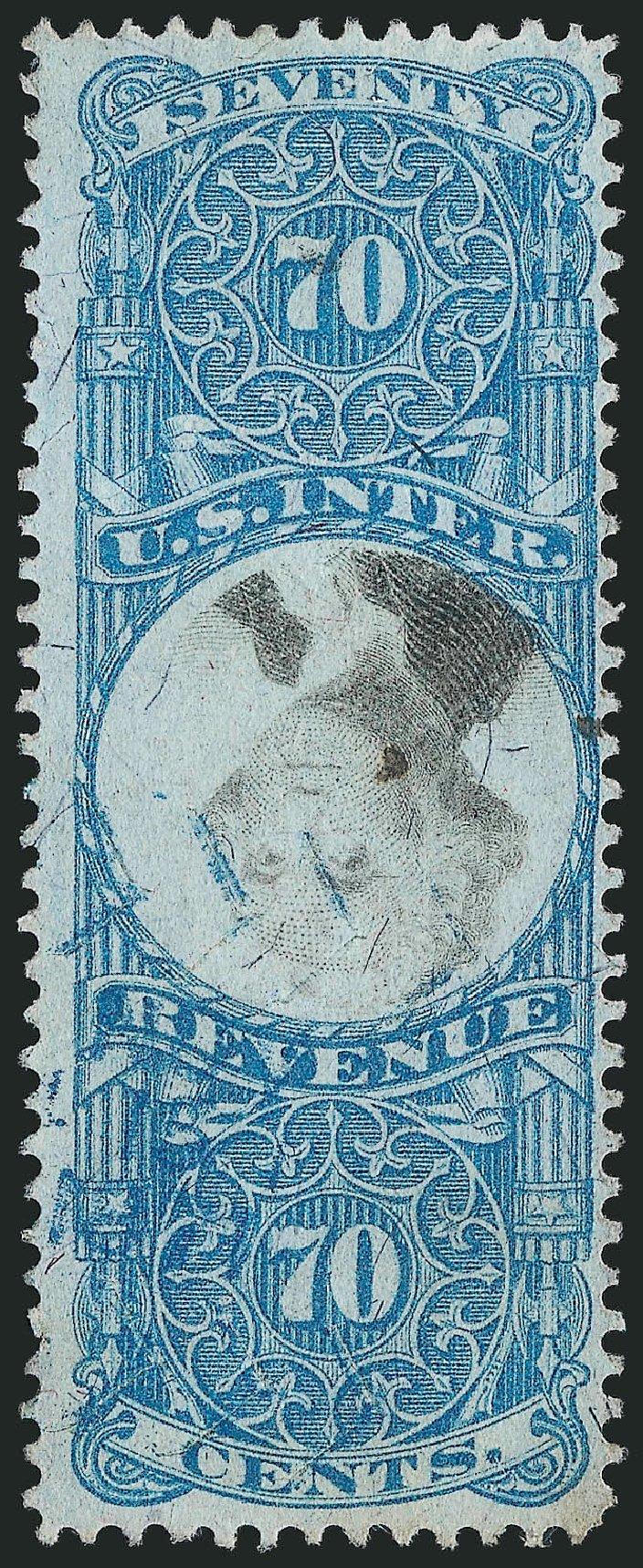 US Stamp Values Scott #R117: 1871 70c Revenue Documentary . Robert Siegel Auction Galleries, Mar 2014, Sale 1067, Lot 562