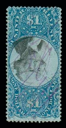 Prices of US Stamp Scott Cat. R118 - US$1.00 1871 Revenue Documentary . Matthew Bennett International, Jun 2007, Sale 319, Lot 1847