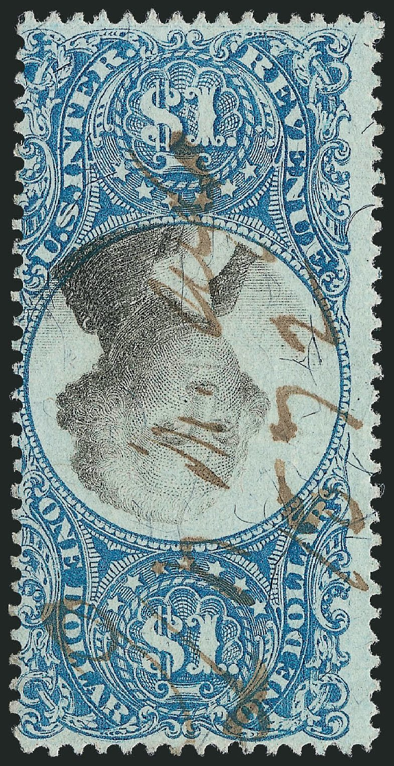 US Stamp Value Scott Cat. R118: US$1.00 1871 Revenue Documentary . Robert Siegel Auction Galleries, Jun 2012, Sale 1025, Lot 278