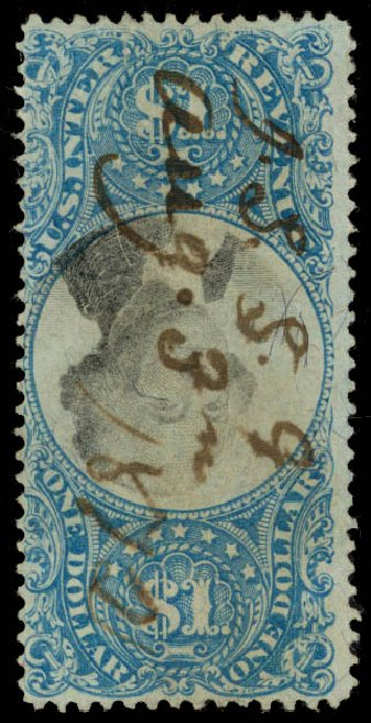 Value of US Stamps Scott Catalogue R118 - US$1.00 1871 Revenue Documentary . Daniel Kelleher Auctions, Sep 2013, Sale 639, Lot 3841