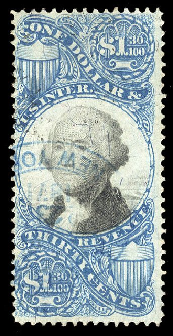 Price of US Stamp Scott Cat. R119 - 1871 US$1.30 Revenue Documentary . Cherrystone Auctions, Jan 2015, Sale 201501, Lot 219