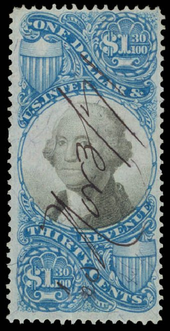 Value of US Stamp Scott R119: US$1.30 1871 Revenue Documentary . Daniel Kelleher Auctions, May 2015, Sale 665, Lot 170
