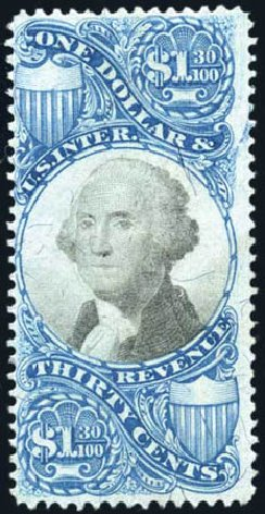 Value of US Stamps Scott Catalogue # R119: US$1.30 1871 Revenue Documentary . Harmer-Schau Auction Galleries, Feb 2010, Sale 84, Lot 1956