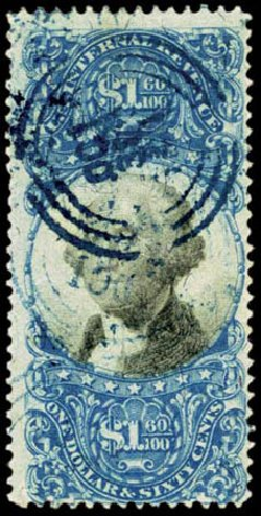 Value of US Stamps Scott Cat. R121: US$1.60 1871 Revenue Documentary . Harmer-Schau Auction Galleries, Feb 2012, Sale 92, Lot 1478